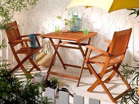 Juego de muebles de jardín (1 mesa plegable, 2 sillas plegables)