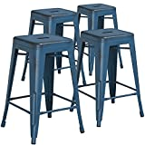 Flash Furniture High Backless Distressed Kelly Metal Indoor Counter Height Stool (4 Pack), 24, Blue