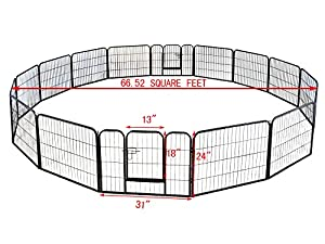 """TMS® 24"""" Tall 16 Panels Metal Pet Dog Puppy Cat Exercise Fence Barrier Playpen Kennel"""