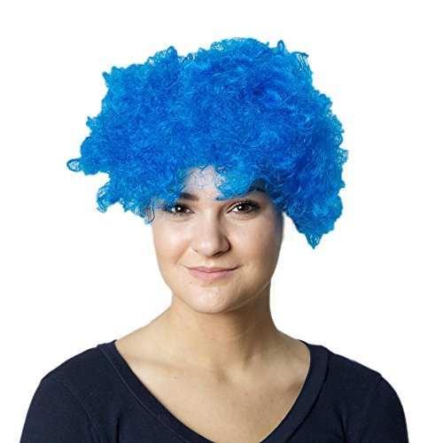 [Curly Blue Wig] (Thing 1 And Thing 2 Costumes Spirit Halloween)
