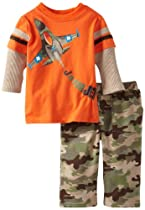 Watch Me Grow! by Sesame Street Baby-boys Newborn 2 Piece J Is For Jet Camo Pullover and Pant, Orange, 6-9 Months