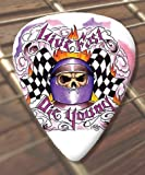 10 x Tattoo Guitar Picks Live Fast (D48) (Medium 0.71mm)