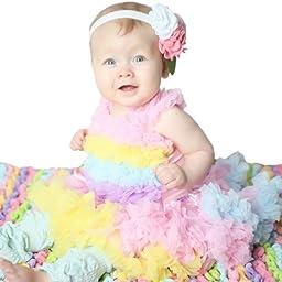 Huggalugs Baby Girls Rainbow Sherbet Pettiskirt Newborn