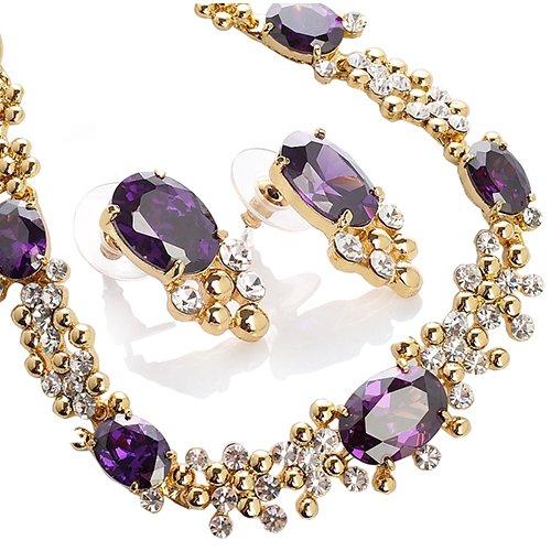 Exquisite Necklace  &  Earrings Set, Finest Amethyst  &  Clear Swarovski  &  Czech Crystals on a 14k Gold Plated Setting, Stunning Piece.