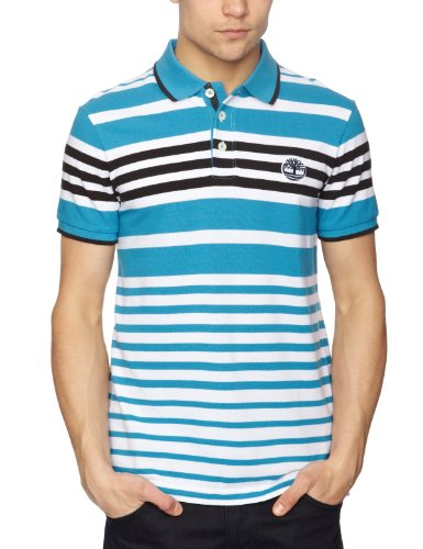 Timberland Nautical Stripe Polo Logo Men's T-Shirt Scuba Blue Large