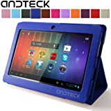 "Andteck Flip Leather Case for Zeepad 7.0, Dragon Touch A13 Q88, Y88, Chromo, FastTouch, Tagital, Noria Jr, Tab Nero 7"" Tablet PCs w/Dual Camera [Protector/Stand] (Blue)"