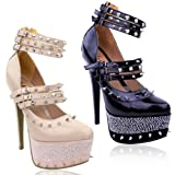 LADIES WOMENS BLACK NUDE STUDDED SPIKE STRAPPY GOTHIC ANKLE STRAP HIGH HEELS PLATFORMS COURT SHOES SIZE