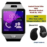 Samsung GALAXY CORE PRIME 4G Compatible and Certified set of Earphones with Mic + DZ09 Bluetooth Smart Watch with SIM Card Slot and Memory Slot upto 16GB supported Watch Phone Remote Camera ( Get Mobile Charging Cable worth Rs 239 FREE & 180 days Replacement Warranty )(single ear piece)