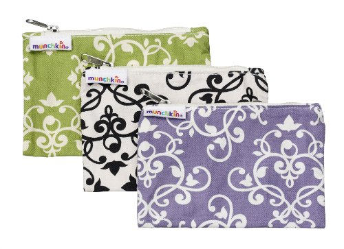 Munchkin 3 Pack Snack Bags, Green/Black/Purple