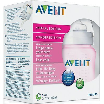 Philips Avent Limitiert Auflage Rosa Mädchen Babyflaschen 2 Pack 260Ml