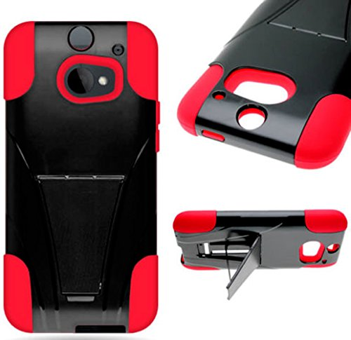 Mylife Red And Black {Smooth Design} Two Piece Neo Hybrid (Shockproof Kickstand) Case For The All-New Htc One M8 Android Smartphone - Aka, 2Nd Gen Htc One (External Hard Fit Armor With Built In Kick Stand + Internal Soft Silicone Rubberized Flex Gel Full