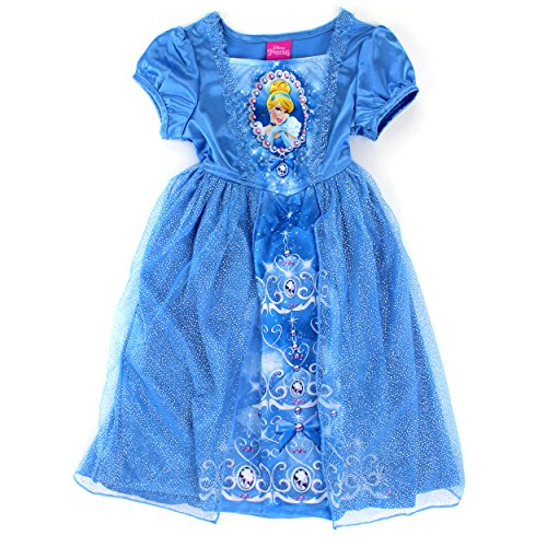 [Disney Princess Cinderella Girls Fantasy Nightgown Pajamas (4T, Cinderella Blue)] (Tiana Costume For Infant)