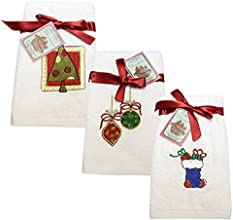 6 Pc Christmas Embroidered Turkish Towel Set White Color 550 Gsm Terry Made in Turkey