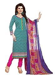 PADMiNi Ethnicwear Women's Dress Material Green 1001