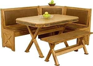 Arizona Rustic Oak Breakfast Nook Set W/ Upholstered Seats