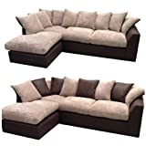 Infinity Corner Sofa (Left hand corner unit) in Mink Jumbo Cord and Chocolate with reversible back cushions.