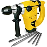 Wolf 1500 Watt SDS Heavy Duty Rotary Impact Hammer Drill 240v - Complete with SDS Drill Bits 8/10/12mm, 2 x Chisel Bits & Heavy Duty Storage Case. 3 Functions Rotary, Rotary with Impact & Chisel