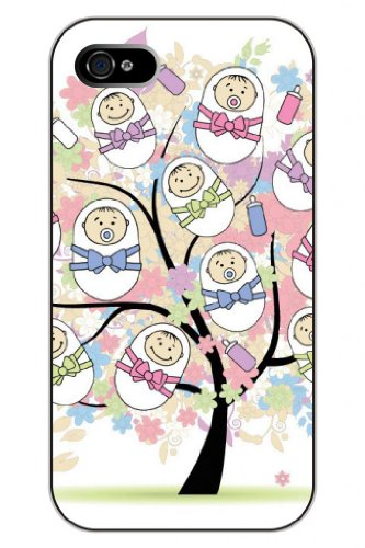 Sprawl Stylish Unique Design Colorful Bows And Baby Hard Plastic Snap On Iphone 4S Case Tree Of Life