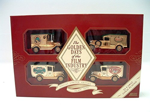 Lledo Gift Set Golden Days Of The Film Industry Delivery Truck Set (24Kt Gold Plated)