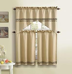 3 piece kitchen curtain set gold with for Naaptol kitchen set 70 pieces