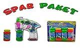 Seifenblasen Sparpaket: Batteriebetriebene LED SeifenblasenPistole mit Licht & Melodie + 6 Flaschen Seifenblasen Flüssigkeit thumbnail
