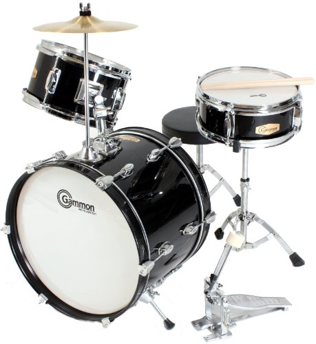 Black Complete Junior Kid's Children's Drum Set with Cymbal Stool Sticks