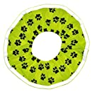 Rrruffler Rrruffle Up for Safety (Black Paws on Green Neon Design) Decorative Collar Large
