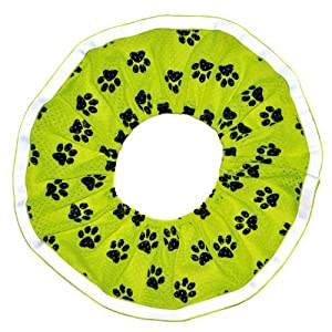 Rrruffler Rrruffle Up for Safety (Black Paws on Green Neon Design) Decorative Collar, X-Small