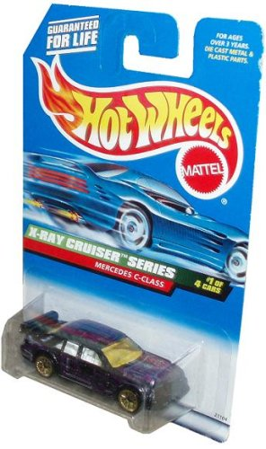 Mattel Hot Wheels 1998 X-Ray Cruiser Series 1:64 Scale Die Cast Metal Car # 1 of 4 - Purple Luxury Sedan MERCEDES C-CLASS with Spoiler (Collector # 945)