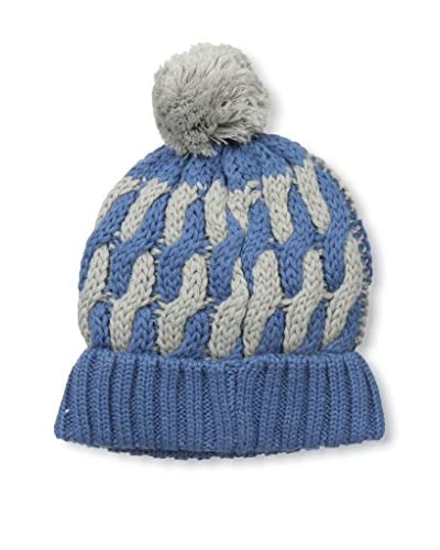 Block Headwear Men's Two-Tone Cable Knit Hat, Indigo