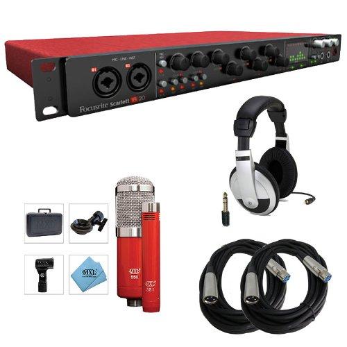 Focusrite Scarlett 18I20 Interface With Mxl 550/551R Microphones & Headphones Bundle