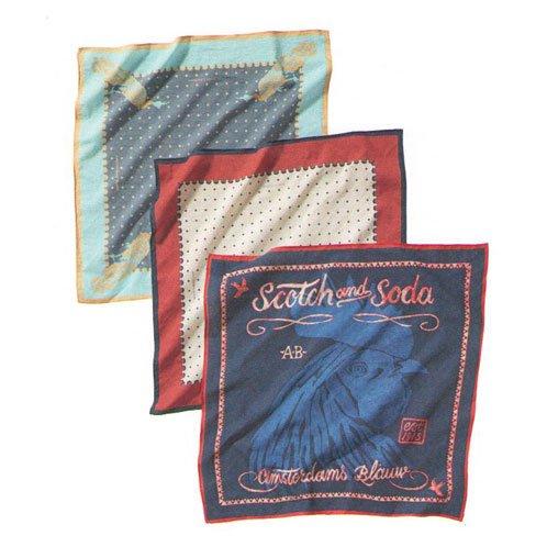 スコッチアンドソーダ SCOTCH&SODA メンズ バンダナ 3 pack of patterned bandana's 77309 A