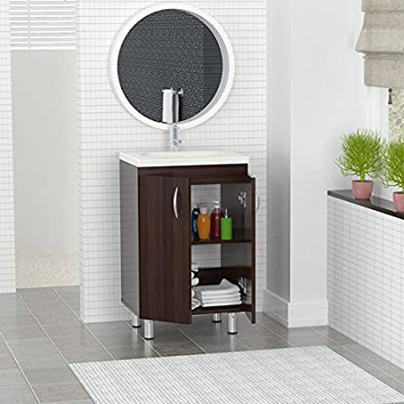 Inval Modern Single Sink Bathroom Brown Floor Cabinet 18 inch GB-028