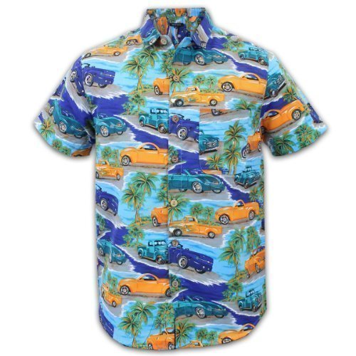 Brave Soul - Herren Hemd Kurzarm Hawaii Insel Auto Aufdruck MOB - XL, Jade-Orange