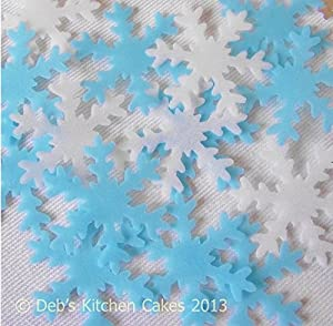 Snowflake Cake Decorations by Deb's Kitchen Cakes - 40 x Edible Wafer Christmas Cake Decorations - Ice Blue and White Mix