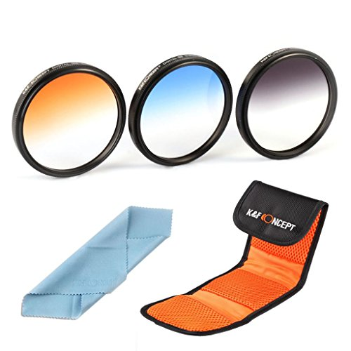 K&F Concept 3Pcs 77Mm Graduated Neutral Density Orange Blue Color Filter Kit For Canon 6D 5D Mark Ii 5D Mark Iii For Nikon D610 D700 D800 Dslr Cameras + Microfiber Lens Cleaning Cloth + Filter Bag Pouch