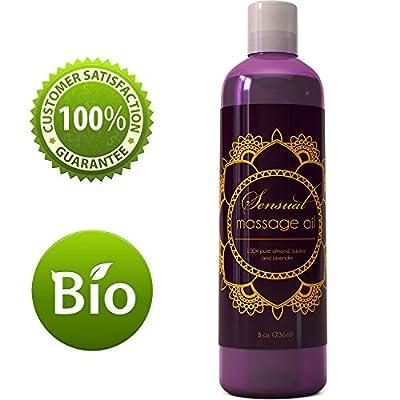 Sensual Massage Oil w/ Pure Lavender Oil - Relaxing Almond & Jojoba Oil - Women & Men - 100% Natural Hypoallergenic Skin Therapy 8 oz. - USA Made