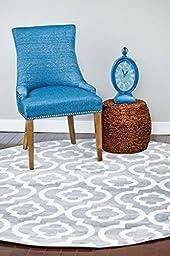 3028 Gray Moroccan Trellis 6 Feet 5 inch Round Area Rug Carpet Large New