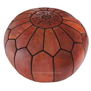 Unstuffed Moroccan Pouf, Ottoman, Pouffe, Poof, Color : Brown