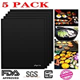 # 1 BBQ Grill Mat-100% Happiness Guarantee- (Set of 5 Mats)-Angel Kiss Nonstick BBQ Grilling Baking Barbecue Mats - 15.75 x 13 Inch