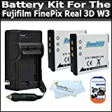 2 Pack Battery And Charger Kit Includes 2 Extended Replacement NP-50 (1100 mAH) Battery + Ac/Dc Rapid Travel Battery Charger + LCD Clear Screen Protectors For The Fujifilm FinePix Real 3D W3 Digital Camera