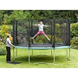 Plum Products Kids Space Zone Trampoline and 3G Enclosure - Green, 14 Ft