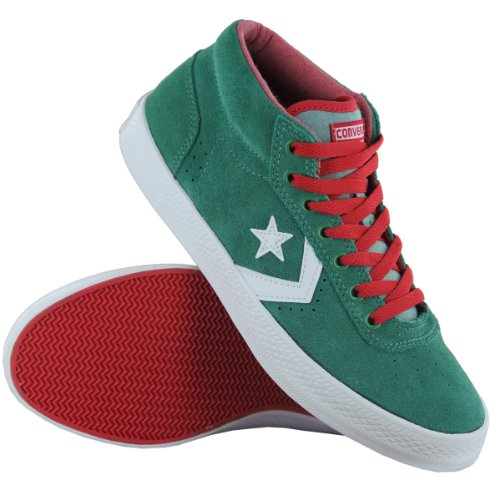 Converse Wells OX Green Suede Leather Mens Trainers