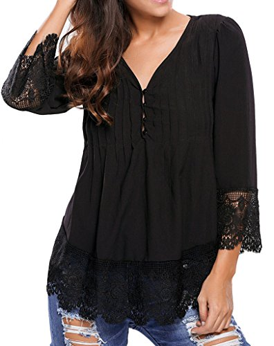 Happy Sailed Women Fashion Boho Lace V-neck Sleeves Blouse Top, Large Black (Tops With Lace compare prices)