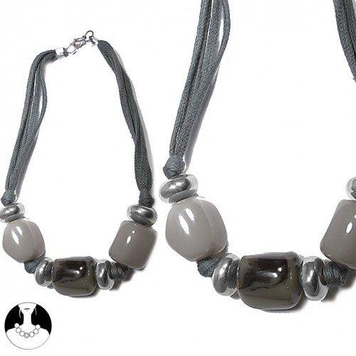 sg paris women necklace necklace resine aluminium 40cm silver grey comb resin
