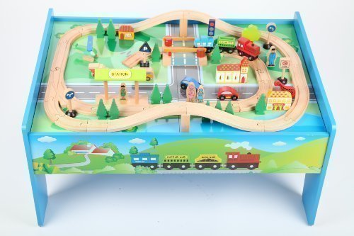 point-kids-Holzeisenbahn-Set-Tisch-70-Teile-Zug-komplett-Set-Holz