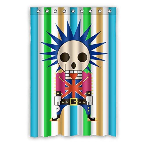 """Stile del fumetto Progettazione di Avantgarde Cranio testa soldati del Regno Unito Colore di sfondo è le strisce verticali di colore Disegno 100% poliestere tessuti impermeabile bagno Shower Curtain 48""""x72"""" (120cm x 183cm)"""