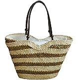 Tonwhar Stripes Straw Shoulder Bag Korean Style Large Beach Tote Bag
