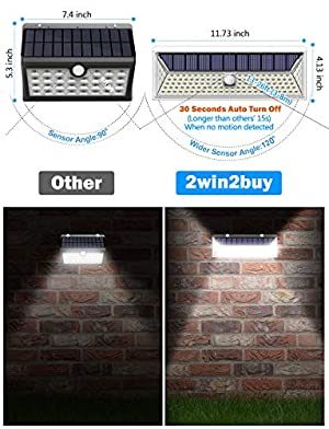 Solar Lights Outdoor,2win2buy 126 LED Motion Sensor Super Bright Solar Powered with 270°Wide Angle Illumination, IP65 Waterproof�3 Modes Secur