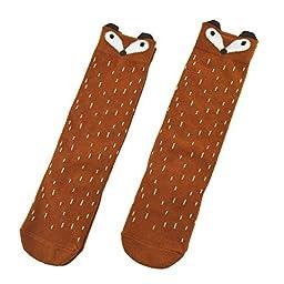 Shorven Baby Kids Cotton Socks Knee High Long Socks 2 Packs Orange Fox S